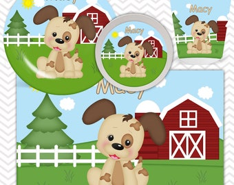 Dog Plate, Bowl, Cup, Placemat - Personalized Farm Dinnerware for Kids - Custom Tableware