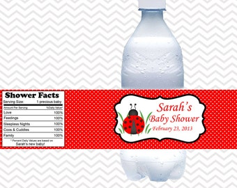 LadyBug Red and Black  - Personalized water bottle labels - Set of 5  Waterproof labels