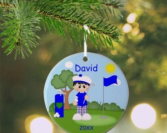 Golf Boy Ornament - Personalized Golf Ornament, Golf Ornament, Kids Ornament, Christmas Tree Ornament