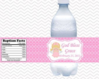 Kneeling Angel Girl Pink Baptism Christening First Holy Communion  - Personalized water bottle labels - Set of 5  Waterproof labels