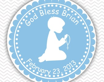 Kneeling Boy Blue Baptism Christening First Holy Communion - Personalized Stickers, Party Favor Tags, Thank You Tags, Gift Tags