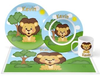 Lion Plate Set - Personalized Kids Plate, Bowl, Mug & Placemat - Lion Plate Set - Kids Plastic Tableware - Microwave Safe