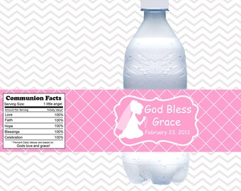 Kneeling Girl Pink Baptism Christening First Holy Communion  - Personalized water bottle labels - Set of 5  Waterproof labels