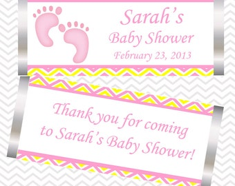 Baby Feet Pink - Personalized Candy Bar Wrapper