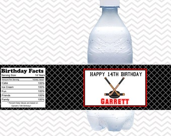 Hockey - Personalized Water bottle labels - Set of 5 Waterproof labels