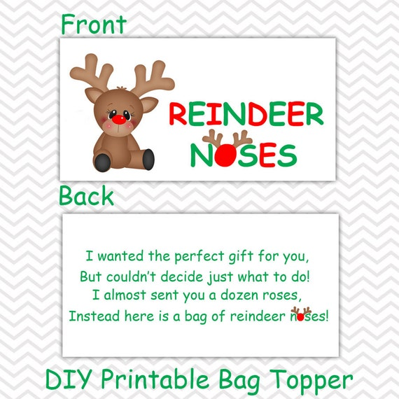 photo about Reindeer Noses Printable referred to as Xmas Reindeer Noses - Tailored Do it yourself Xmas Printable Bag Topper, Take care of Topper, Foodstuff Tent