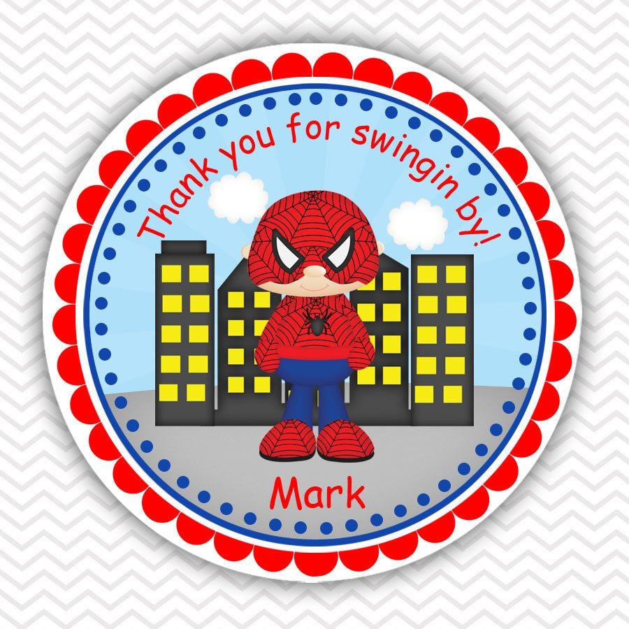 Spiderman super heros personalized stickers party favor tags thank you tags gift tags address labels birthday baby shower
