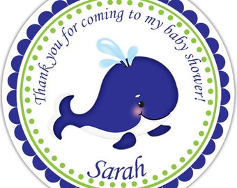 Preppy Blue Whale - Personalized Stickers, Party Favor Tags, Thank You Tags, Gift Tags, Address labels, Baby Shower, Birthday