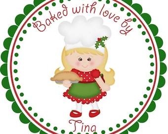 Baked with Love Pie Girl From the Kitchen of Personalized Stickers - Address Labels, Baked Goods Stickers, Kitchen