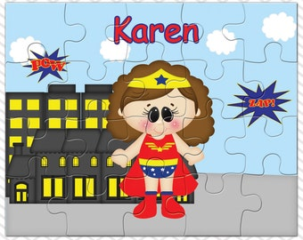 Wonder Women Personalized Puzzle, Personalized Wonder Women Puzzle, Personalized Kids Puzzle