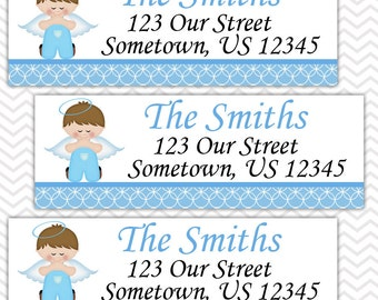 Kneeling Angel Boy Baptism Christening First Holy Communion  - Personalized Address labels, Stickers