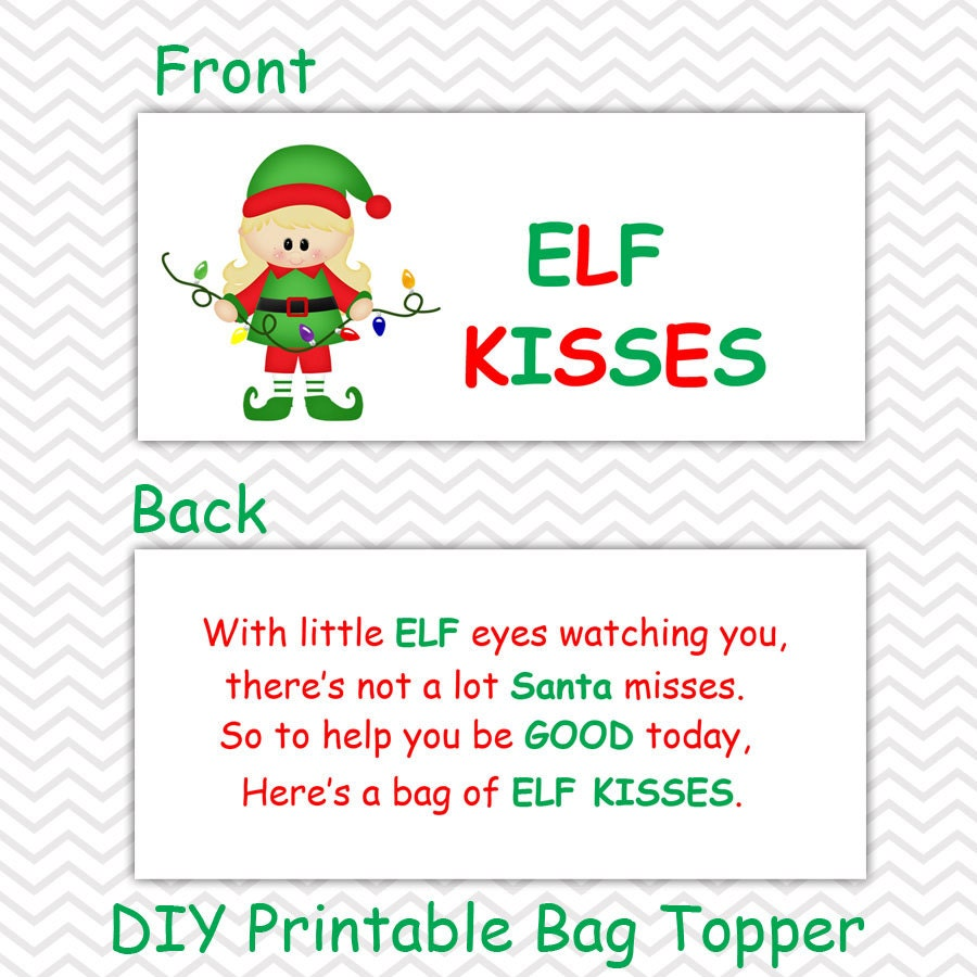 picture about Elf Kisses Printable named Xmas Elf Kisses Woman - Customized Do-it-yourself Xmas Printable Bag Topper, Address Topper, Foodstuff Tent