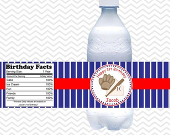 Baseball  - Personalized water bottle labels - Set of 5  Waterproof labels