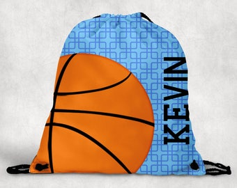 Personalized Drawstring Backpack - Basketball Backpack - Basketball Sports Bag - Personalized Kids Drawstring Bag