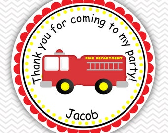 Fire Trucks - Personalized Stickers, Party Favor Tags, Thank You Tags, Gift Tags, Address labels, Birthday, Baby Shower