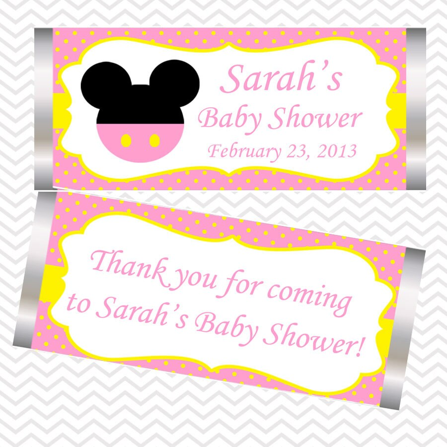 Pink Minnie Mouse Head Personalized Candy Bar Wrapper
