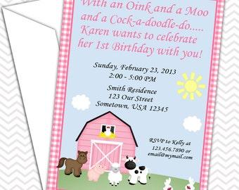Barn Yard Farm Animals Pink Gingham Invitations PRINTABLE - Birthday Party - Baby Shower