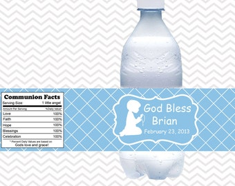 Kneeling Boy Blue Baptism Christening First Holy Communion  - Personalized water bottle labels - Set of 5  Waterproof labels