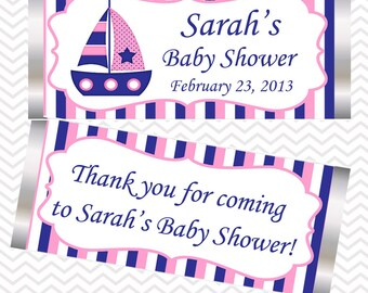 Nautical Pink Blue  - Personalized Candy Bar Wrapper