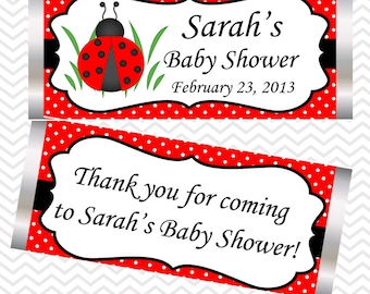 LadyBug Black and Red - Personalized Candy Bar Wrapper