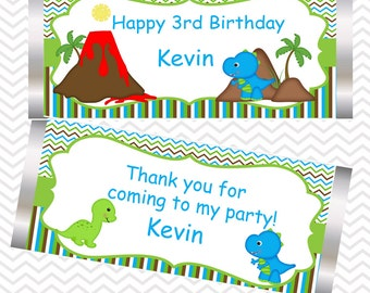 Dinosaur - Personalized Candy Bar Wrapper, Birthday, Baby Shower