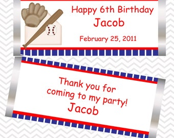 Baseball - Personalized Candy Bar Wrapper birthday baby shower