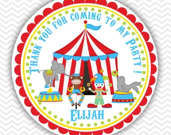 Circus  - Personalized Stickers, Party Favor Tags, Thank You Tags, Gift Tags, Address labels, Birthday, Baby Shower