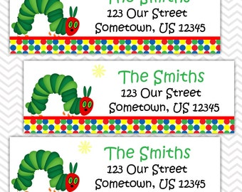 Hungry Caterpillar - Personalized Address labels, Stickers