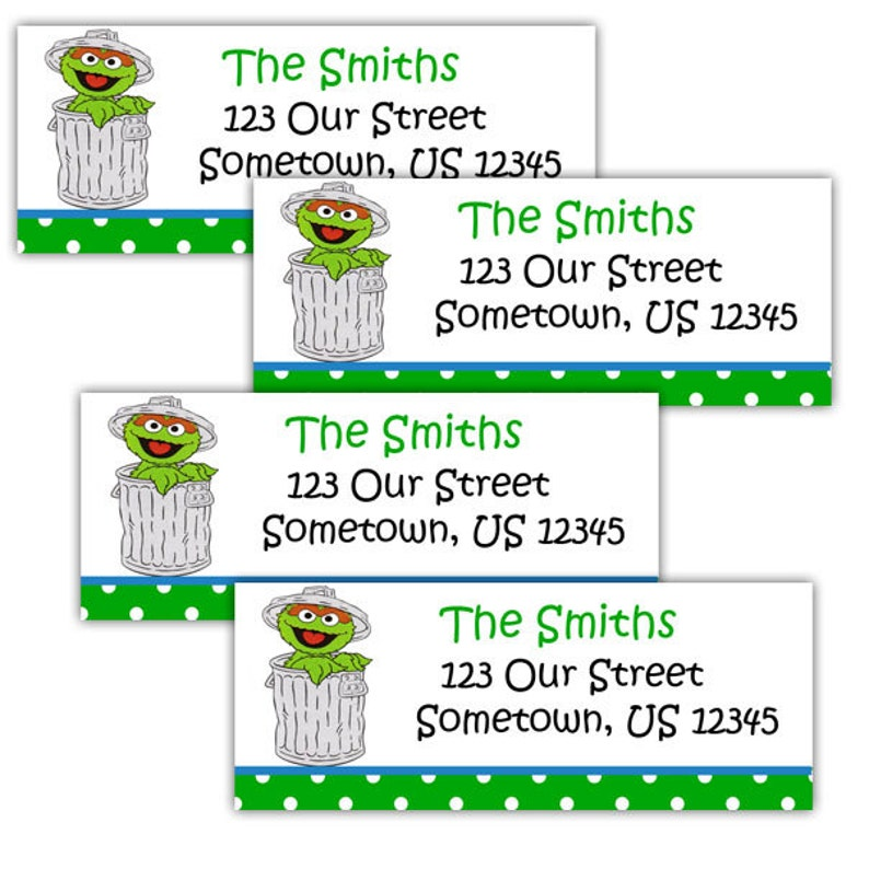 30 Oscar the Grouch Personalized Address Labels