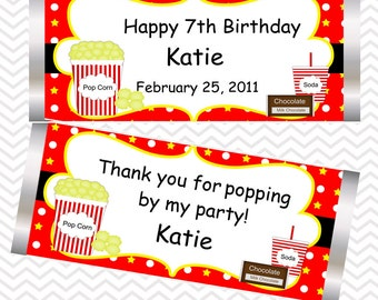 Movie Night  - Personalized Candy Bar Wrapper