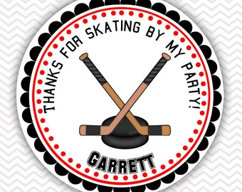 Hockey - Personalized Stickers, Party Favor Tags, Thank You Tags, Gift Tags, Address labels, Birthday, Baby Shower