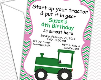 Tractor Girl Pink Invitations PRINTABLE - Birthday Party - Baby Shower