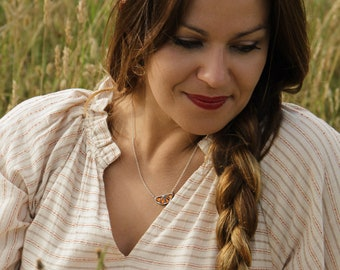 Silver orange Necklace, choker orange, Charm dainty pendant, enamel chain, orange jewelry, food jewels, enamel jewelry
