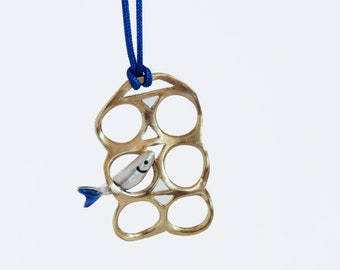 Six pack rings jewelry, Brass and silver pendant, Mens necklace, Vintage necklace, Blue Sardines, Unisex jewelry