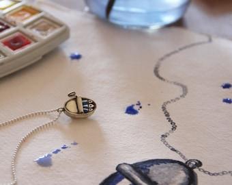 Silver choker necklace, Silver charm, sardines pendant, sardines choker, oxidized silver jewel. Original jewels