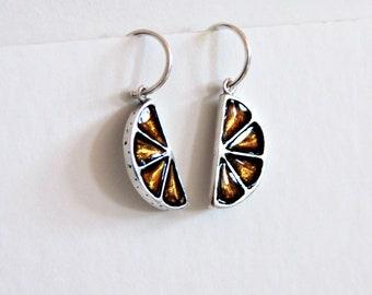 Sterling Silver Hoop Earrings,  Small Hoops earrings, Orange earrings, Orange jewels