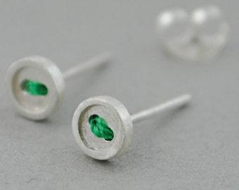 Small silver earrings, button earrings, Sterling silver jewelry, green earrings, Tiny silver earrings,  sterling silver stud