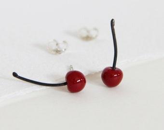 Small silver earrings, Tiny silver earrings, Cherries earrings, red enamel jewelry, Flashy earrings, Food jewels