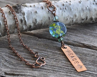 Rustic Peace Vintage Glass Hand Cut & Stamped Copper Tag Pendant Necklace