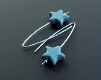 Shooting Star Sterling Silver Turquoise Howlite Star Drop Earrings