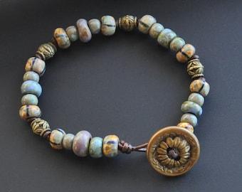 Leather Wrap Bracelet with Vintage Brass Button, Czech Picasso Glass, Brass Beads,