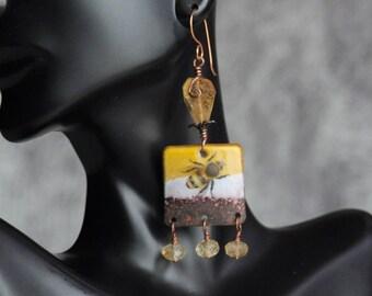 Artisan Enameled Bee & Citrine Gemstone Handmade Boho Dangle Earrings