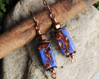 Lava Lamps II Vintage Blue & Copper Lampwork Glass Drop Earrings