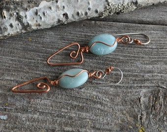 Amazonite Shiny Copper Wire Triangle Swirl Handcrafted Dangle Boho Artsy Earrings