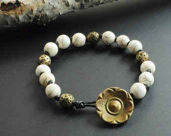 White Howlite Boho Knotted Leather Stacking Bracelet with Vintage Brass Flower Button Closure
