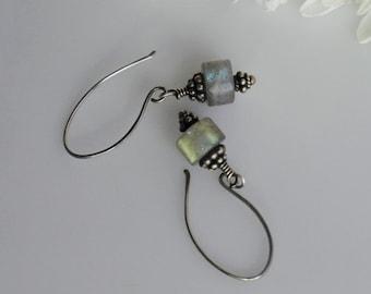Simple Labradorite & Sterling Silver Handmade Drop Earrings