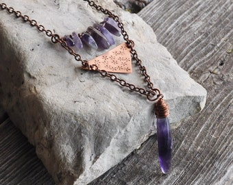 Copper Hand Cut & Stamped Triangle with Amethyst Dagger Pendant Necklace