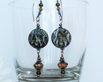 Blue and Amber Czech Glass Handmade Dangle Boho Earrings