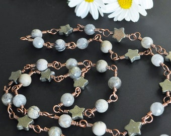 Labradorite Silver Golden Pyrite Stars & Artistic Stone Oxidized Copper Handmade Wire Wrapped Boho Beaded Continuous Chain Layering Necklace