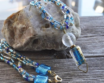 Shades of Blue Reversible Dichrotic Glass Pendant Seed Bead Necklace